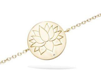Bracelet or motif fleur lotus