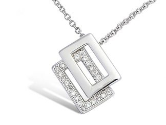 Collier argent rectangle superposé