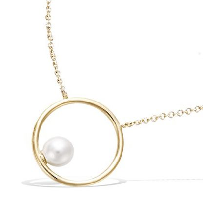 Collier or cercle perle blanche