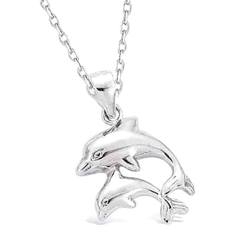Pendentif argent double dauphin
