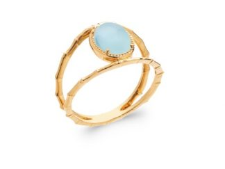Bague or ovale agate bleue