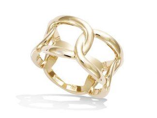 Bague or large anneaux entrelacs