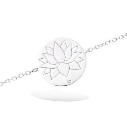 Bracelet argent ronde fleur lotus