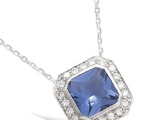 Collier argent carré tanzanite