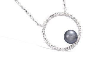 Collier argent cercle perle grise