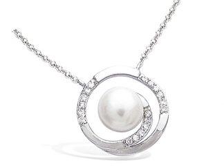 Collier argent perle blanche cz