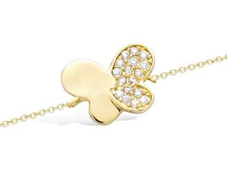 Collier or papillon lisse oxydes