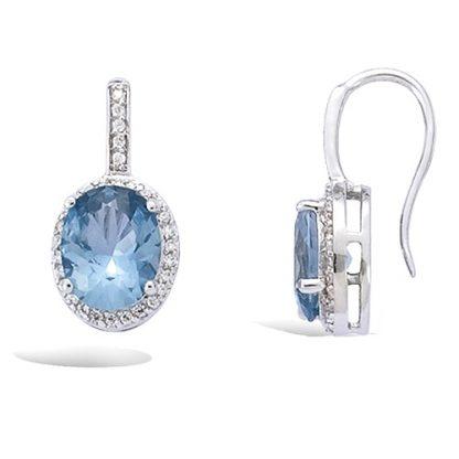 Boucle oreille argent aquamarine