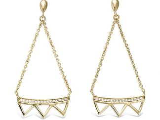 Boucle oreille or trois triangles
