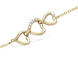 Bracelet or trois coeurs oxydes