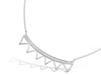 Collier argent barre triangles