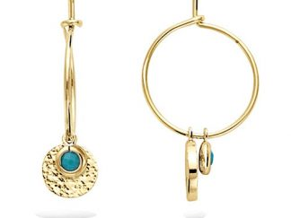 Boucle oreille or turquoise