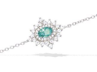 Bracelet argent étoile verte