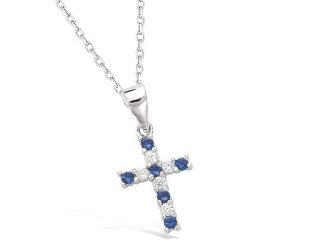 Pendentif croix saphir
