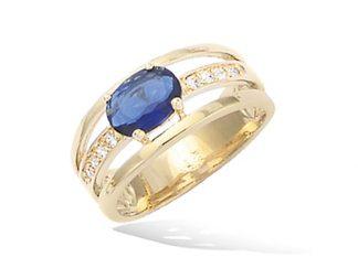 Bague or large saphir bleu
