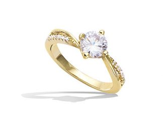 Bague or solitaire oxydes blancs