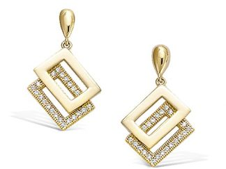 Boucle oreille or rectangles