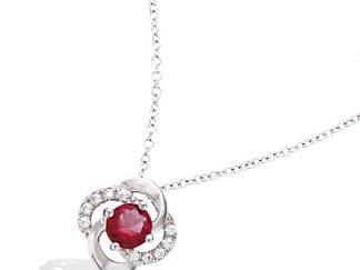 Collier argent fleur ajourée rubis