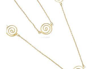 Collier sautoir or huit spirales