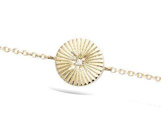 Bracelet or ronde striée