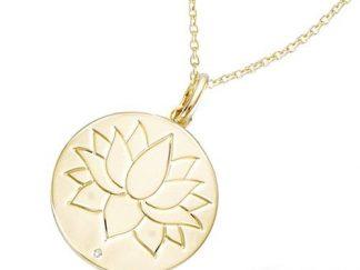 Pendentif or ronde fleur lotus