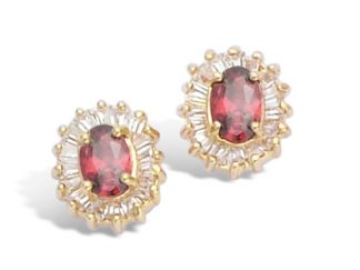 Boucle oreille or ovale rubis cz