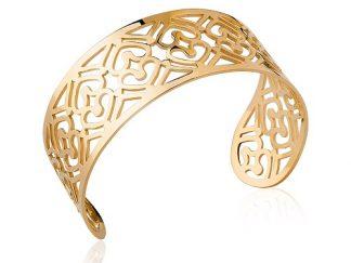 Bracelet jonc or large coeurs