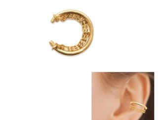 Bague oreille or double chaines